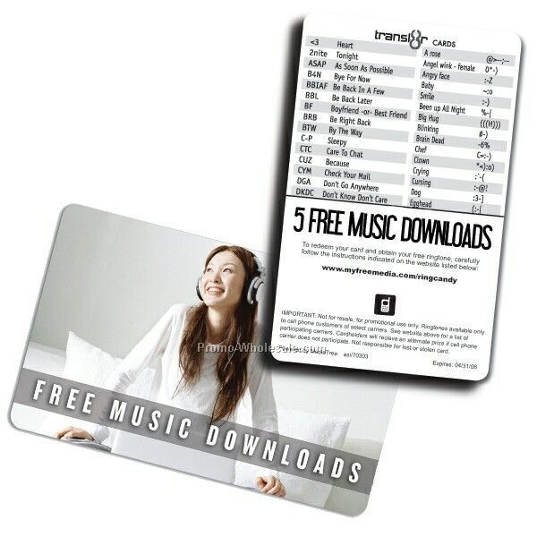 Transl8r Music Combo Card With 5 Free Music Downloads