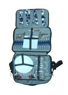 Waterproof Picnic Backpack W/ Stainless Steel Knives/ Spoons/ Cups