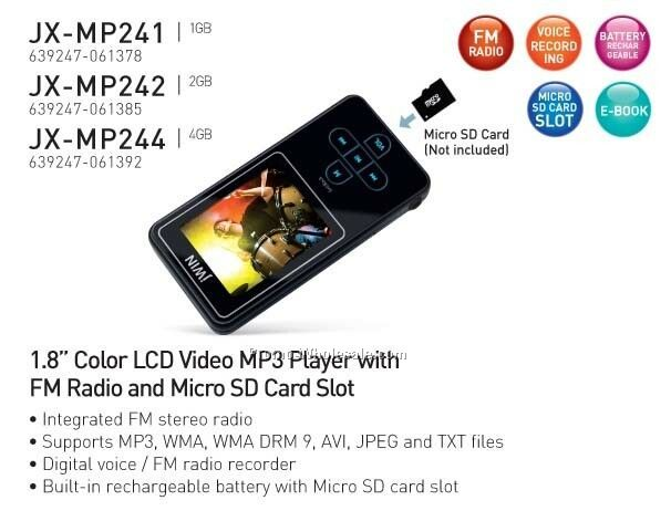 "1.8"" Color Lcd Video Mp3 Player W/ Radio & Sd Slot - 1gb"