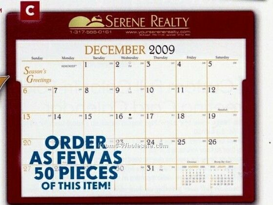 "11-3/4""x9-1/8"" Rwd Recordrate Calendar Pad - After June 1 (Black)"
