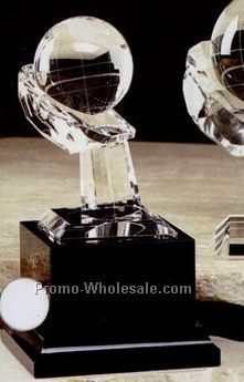 "2-3/8"" Optical Crystal World Globe Award On Hand"