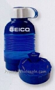 21 Oz. Collapsible Water Bottle W/ Pill Box (3 Day Shipping)