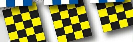 30' 4 Mil Rectangle Checkered Race Track Pennant - Black/ Yellow