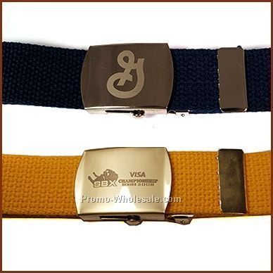 "42"" Cotton Web Belt & 1-1/4"" Laser Engraved Military Buckle"