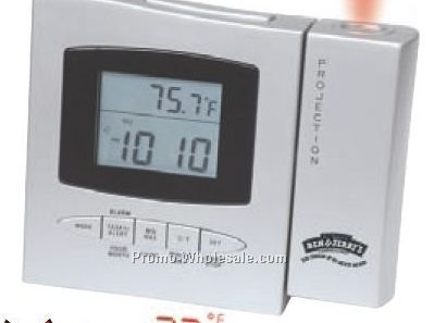 "5-1/4""x4-1/4""x1-1/4"" Projector Alarm Clock With Thermometer"