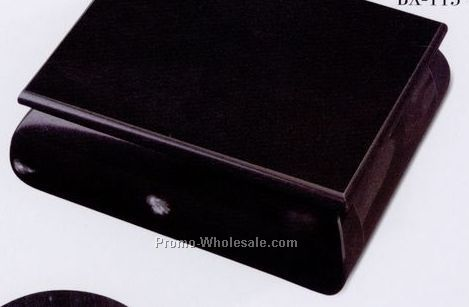 "5""x2""x4-1/4"" Box W / Rounded Side & Hinged Lid - Jet Black"