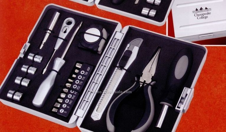 "6-1/4""x4-3/4"" 9 Piece Tool Set W/ Pliers, Socket Set, Tape Measure & Knife"