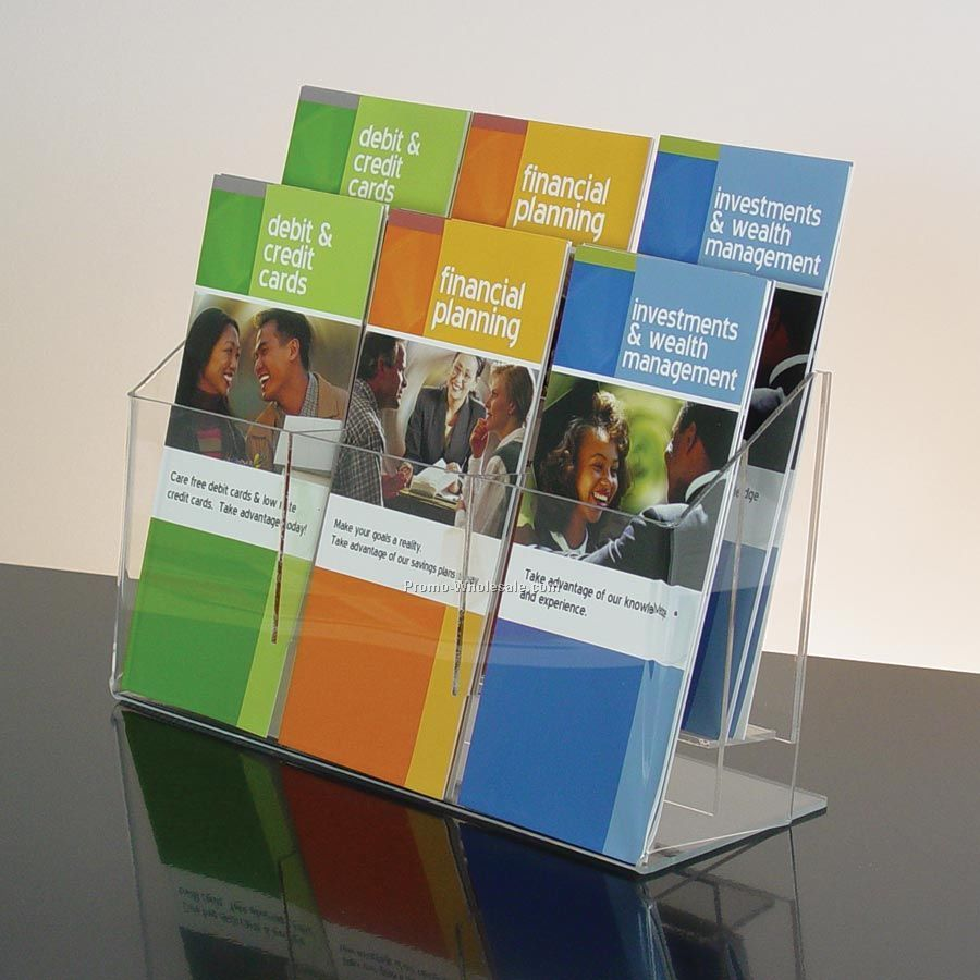 6-pocket Clear Acrylic Brochure Holder - Countertop