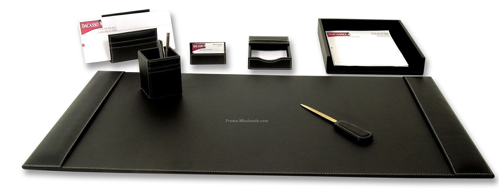 7-piece Rustic Leather Desk Set - Black