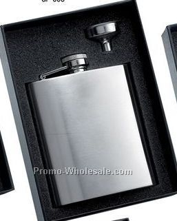 8 Oz Stainless Steel Brush Finished Flask With Plain Front And Silver Funne