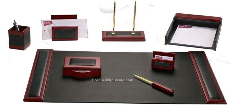 8-piece Wood & Leather Desk Set - Rosewood Trim