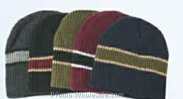 Acrylic Cable Knit Beanie Hat W/ Striped Trim (One Size Fit Most)