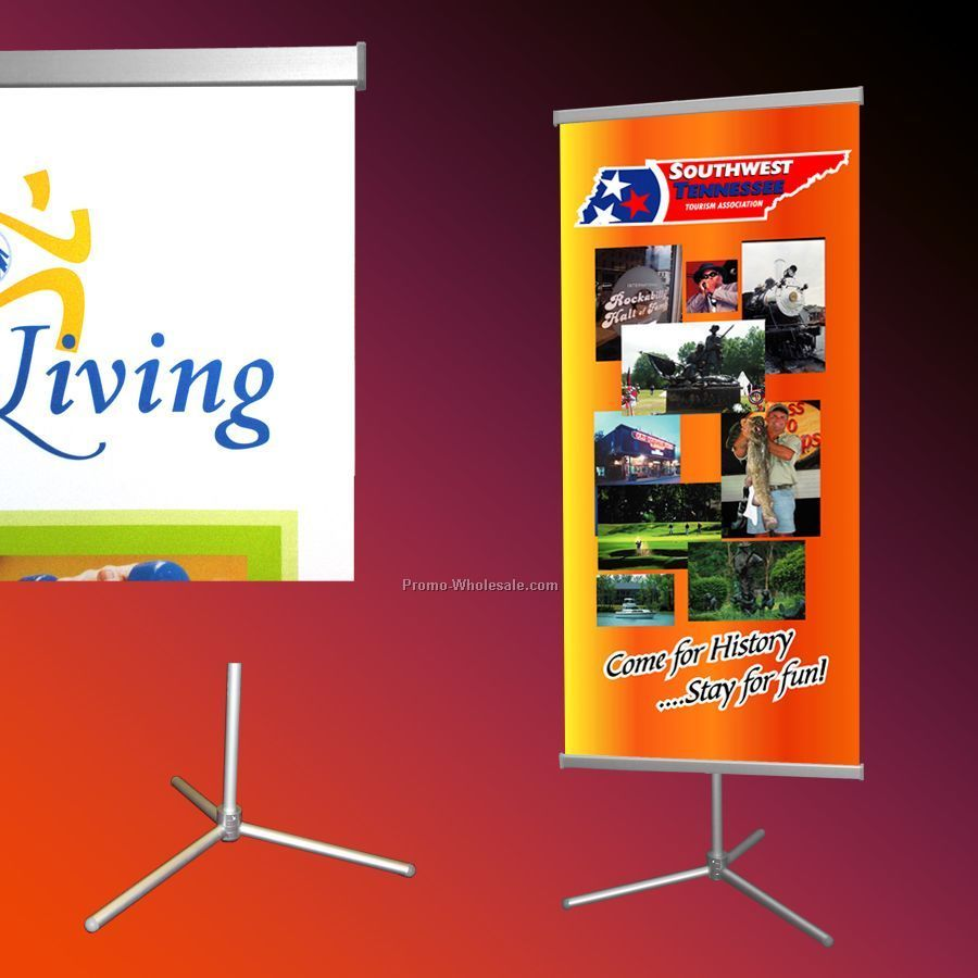 "Adjustable Banner Stand/1 - 31.5"" X 72"" Banner"