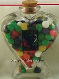 Extra Large Glass Heart Jar Filled W/ White Gourmet Mints