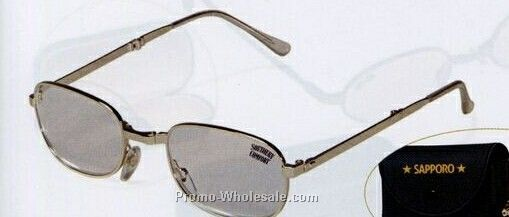 Foldable Reading Glasses W/ Gold Frames & Temples (Carrying Case)