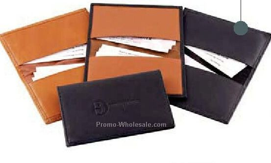 Full Grain Aniline Leather Standard Card Case With Moire Lining
