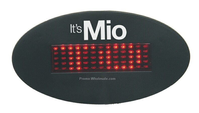 Light-up LED Oval Message Name Tag