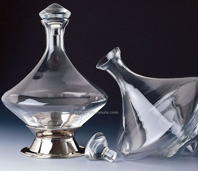 Orbital Decanter With Silver Plated Base & Crystal Stopper