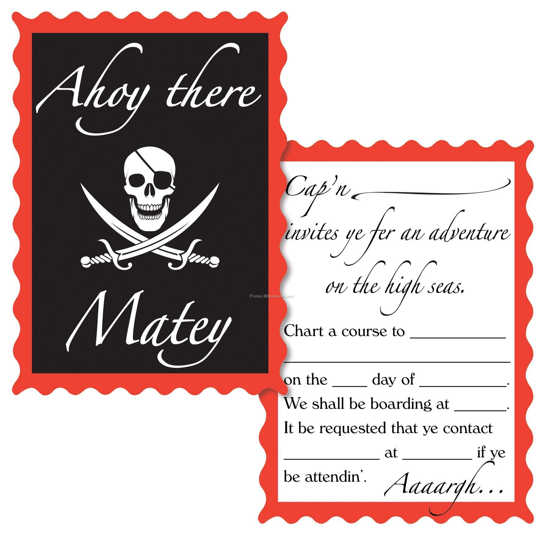 Pirate Theme Decoration Accessory - Invitations