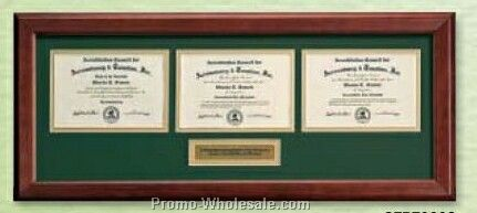 "Rosewood Certificate Frame For 3 Certificates (10-3/8""x24-3/8"")"