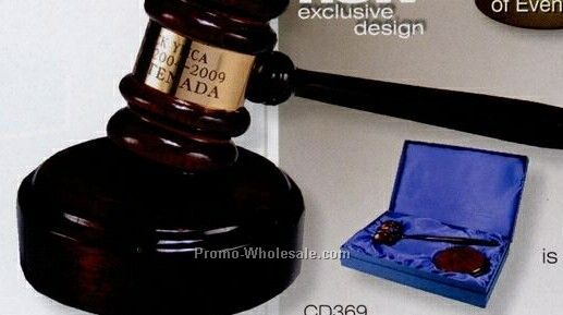 Rosewood Gavel & Sounding Block Gift Set W/ Engraved Band - 10-1/2""