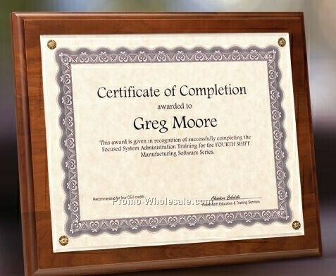 "Simulated Walnut Certificate Holder W/ Plexiglass Overlay - 7""x9"""