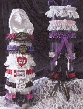 Single Bottom Laced Leg Garter W/Rosette (1 Color)