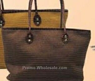 Straw Handbag With Leather Straps