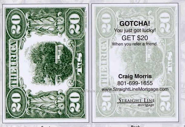 "Trick Custom Money Cards In $20 Denomination (2-5/8""x3-5/8"")"