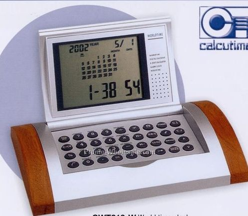 Wood World Time Calculator Alarm Clock W/ Currency Converter