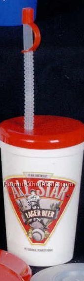 16/22 Oz. Flyer Lid & Straw With Attached Tip