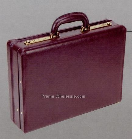 "17-3/4""x13""x4""-5"", Genuine Leather Continental Attache Case"