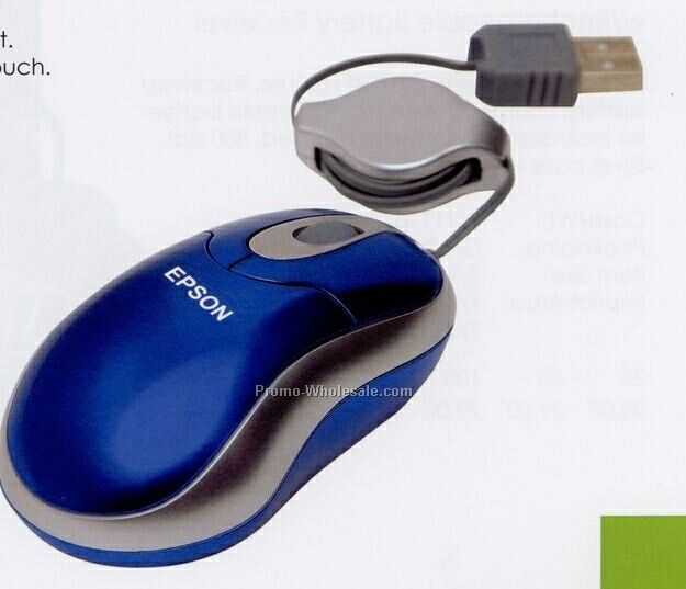 "3-1/4""x2""x1-1/4"" Retractable Optical Mouse With Metallic Blue Case"