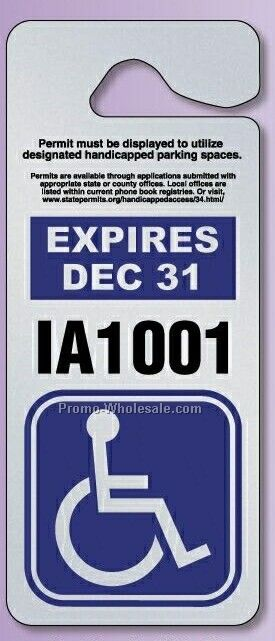 "3-3/8""x9"" Giant Hang Tag Parking Permit (.035"" Polyethylene)"