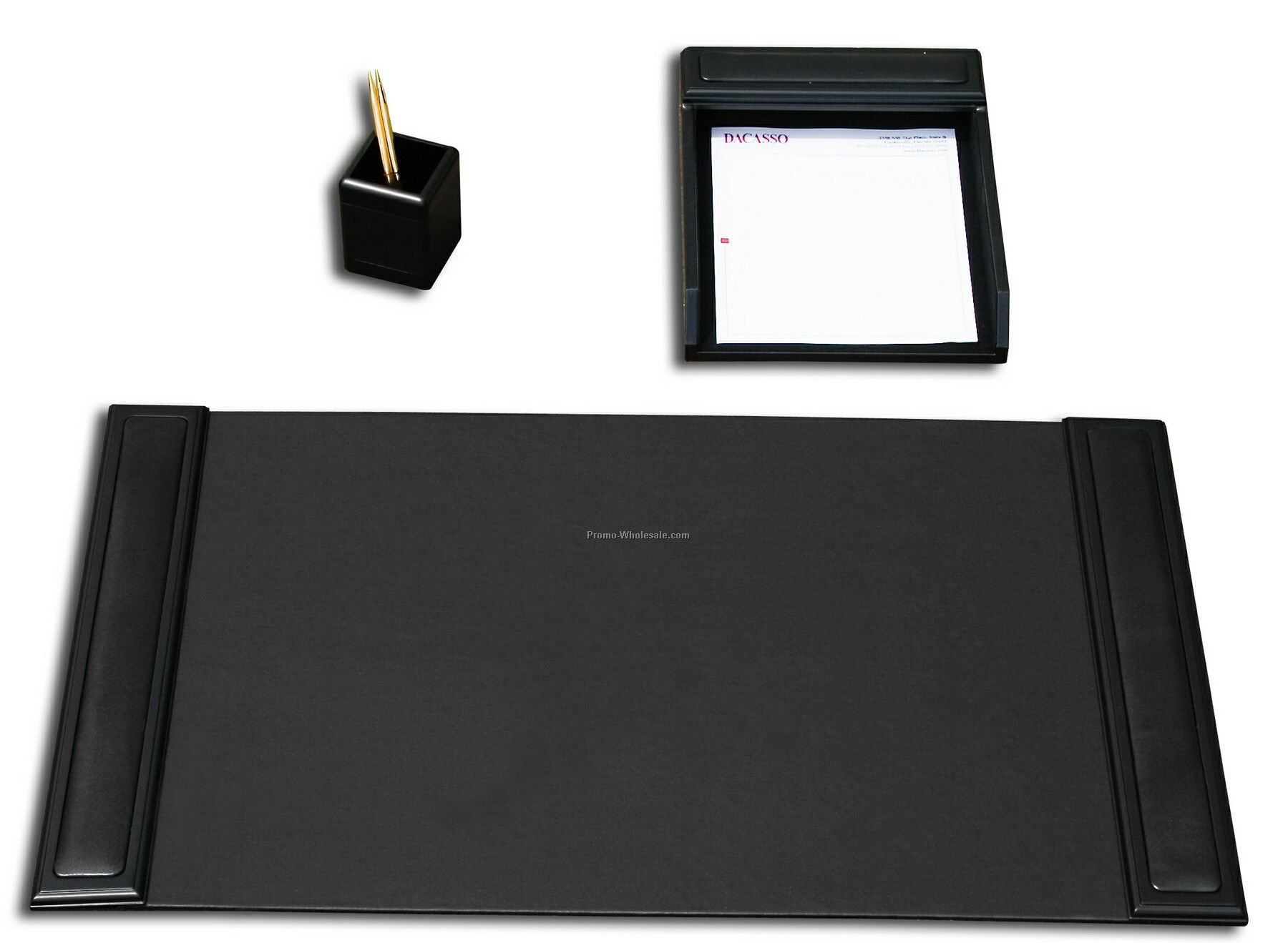 3-piece Wood & Leather Desk Set - Blackwood Trim
