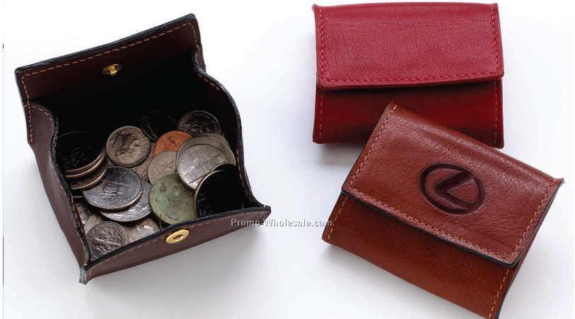 "3""x2-1/2"" Business Leather Compact Coin Purse"