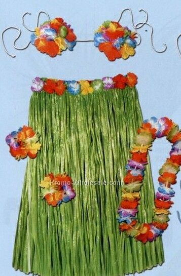 "5 Piece Complete Child Hula Outfit (20""x27"" Waist)"