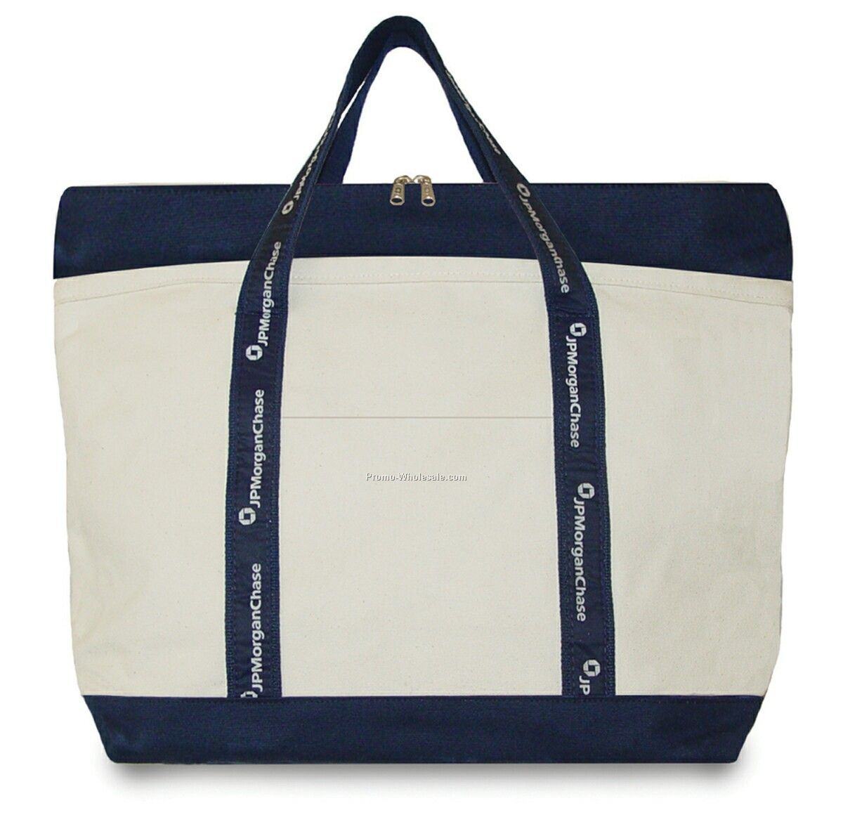 5m V/B Two-tone Tote With Deluxe Recessed Top Zipper And Motif Woven Ribbon