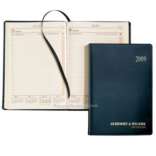 "7-3/4""x5-1/2"" Black Cherry Sun Graphix Bonded Leather Daily Desk Planner"