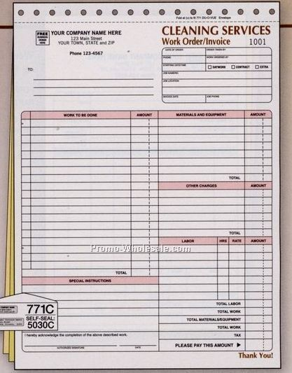 "8-1/2""x11"" 3 Part Cleaning Work Order Invoice"