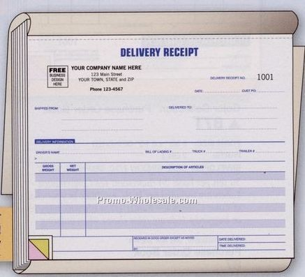 "8-1/2""x7"" 3 Part Delivery Receipt Book"