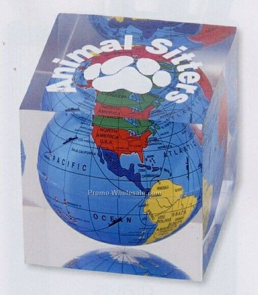 Acrylic Cube Paperweight W/ Globe (Standard Shipping)