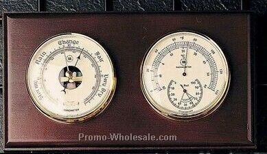 Brass Barometer/Thermometer/Hygrometer On Oak Base