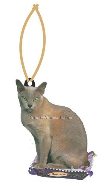 Burmese Cat Executive Line Ornament W/ Mirror Back (4 Square Inch)