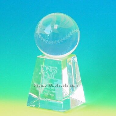 Crystal Baseball Paperweight (Screened)