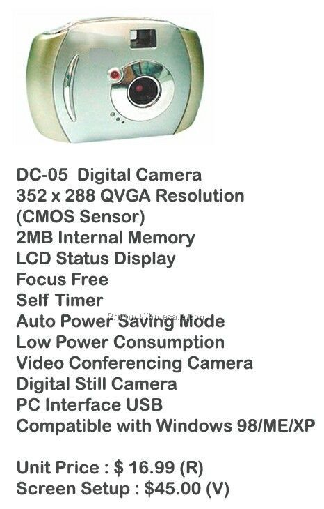 Digital Camera, Video Camera, Web Cam, Stores Photos, 2mb Memory