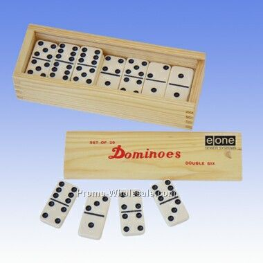Double 6 Standard Wooden Case Dominoes (Engraved)