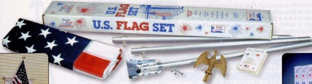 Endura Nylon U.s. Outdoor Flag Sets With 3 PC Aluminum Pole (Ultimate)