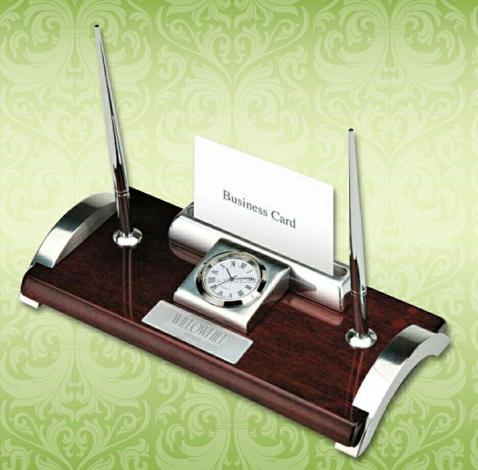 "Essentials Quercia I Wood & Aluminum Clock/ Business Card Holder 8""x4"""