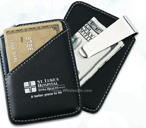 Faux Leather & Chrome Plated Money Clip & Card Holder Combo /Screen Printed